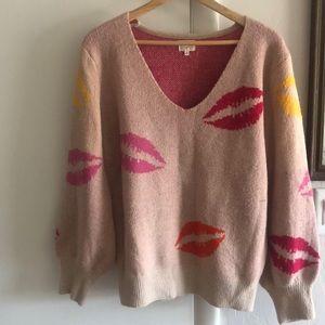 Dee Elly oversized women sweater with lip pattern